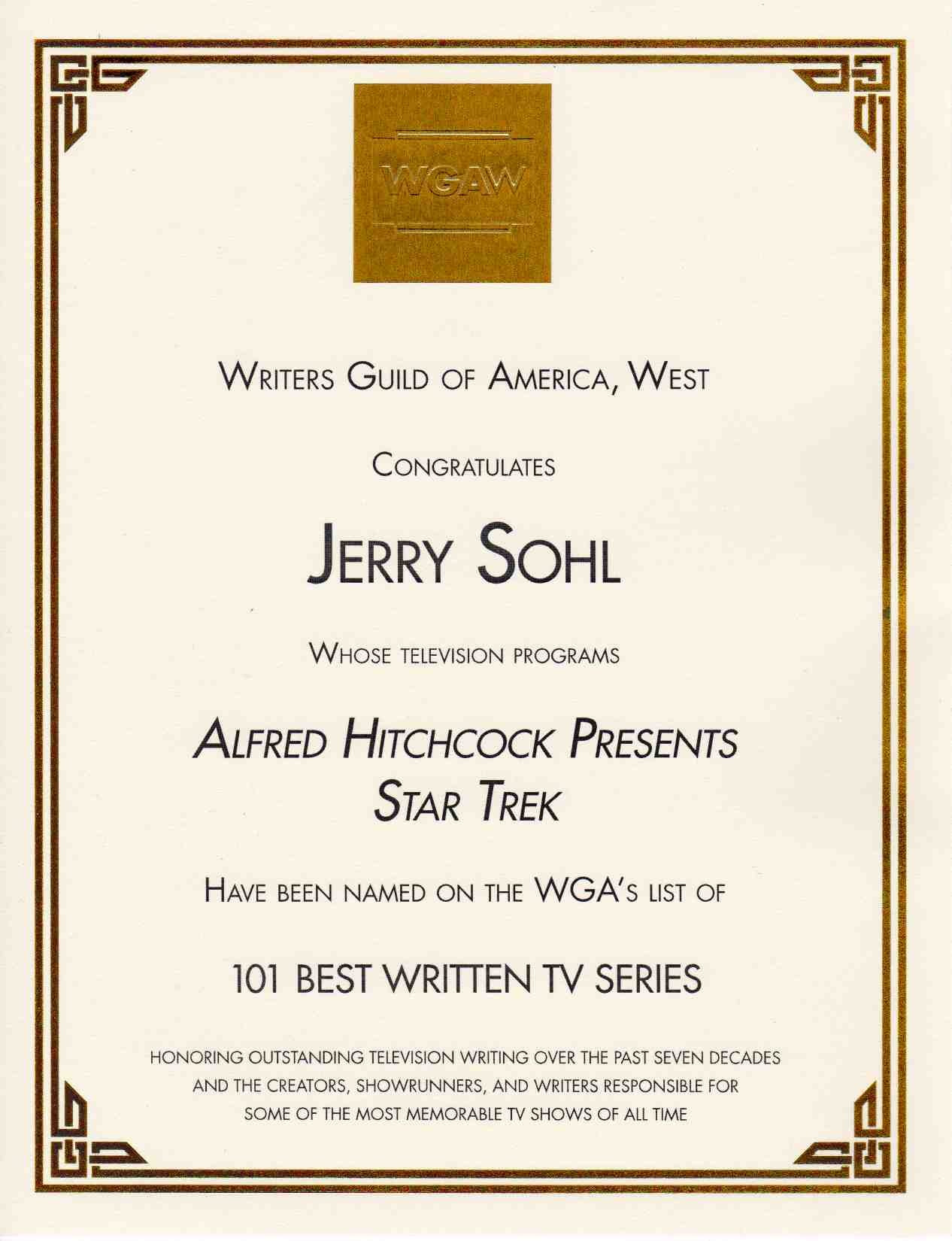 WGA Award for Jerry Sohl